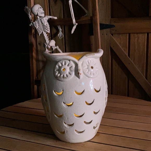 Pottery Barn Chipped/Rustic Ceramic Owl Hurricane